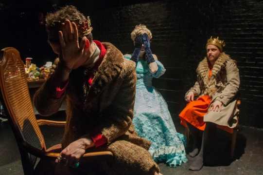 """Eben Hoffer, Emily Marro, and Nathaniel Basch-Gould in """"Il Regno Malati at Dinner"""" photo by Bailey Carr"""