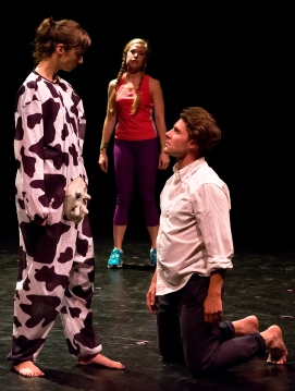"""Anastasia Olowin, Caitlin Bebb, and Peter Burke in """"Fat Fat Fatty"""" photo by Hunter Channing"""