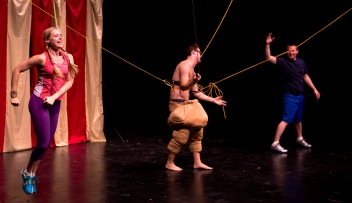 """Caitlin Bebb, Nick Fesette, and Sean O'Hagan in """"Fat Fat Fatty"""" photo by Hunter Channing"""